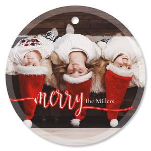Merry Photo Ornament – Glass Round