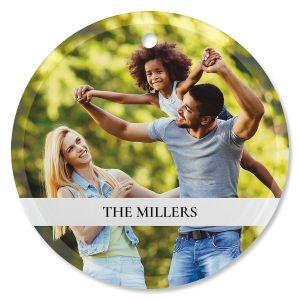 Family Name Custom Photo Ornament - Glass Round