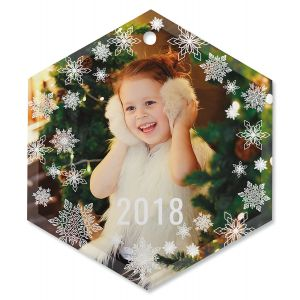 Snowflake Custom Photo Ornament - Glass Hexagon