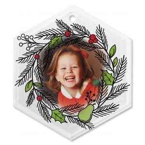 Wreath Custom Photo Ornament - Glass Hexagon