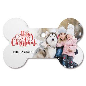 Merry Christmas Custom  Photo Ornament - Bone