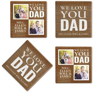 Burlap Custom Photo Coasters