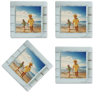 Rustic Blue Shiplap Frame Custom Photo Coasters