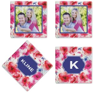 Watercolor Floral Custom Photo Coasters