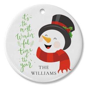 Laughing Snowman Personalized Ornament Circle