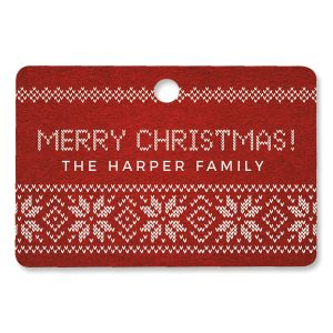 Festive Knitted Personalized Ornament Rectangle