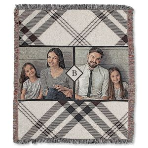 Plaid Woven Custom Photo Throw