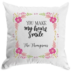 Floral Personalized Pillow White