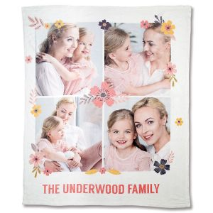 Fleece Floral Custom Photo Throw