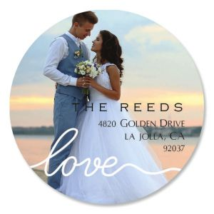 Love Round White Caption Photo Address Label