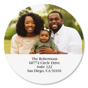 Direct Round Photo Return Address Label