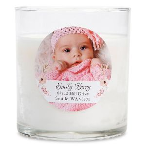 Floral Custom Photo Candle
