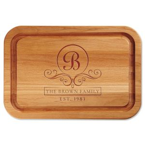 Alder Flourish Scroll Custom Wood Cutting Board