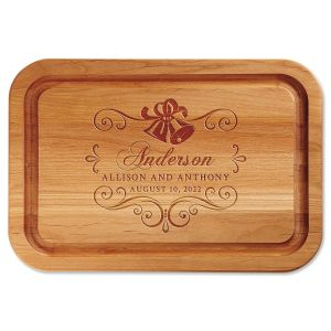Alder Wedding Bells Custom Wood Cutting Board