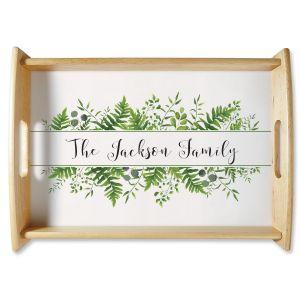 Custom Family Name & Greenery Natural Wood Serving Tray