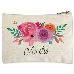 Custom Floral Name Zippered Pouch