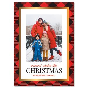 Red Buffalo Check Personalized Photo Christmas Cards