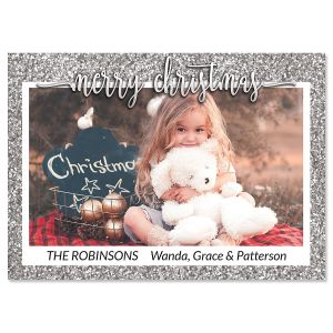 Silver Glitter Personalized Photo Christmas Cards