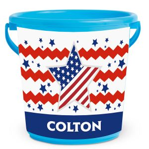 Personalized Kids Beach Bucket - Fourth of July