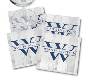 Custom Whitewashed Woodgrain Coasters with wine glass
