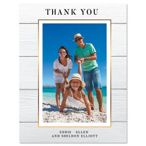 Vertical Shiplap Thank You Photo Note Cards