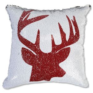 Sequined Holiday Reindeer Pillow