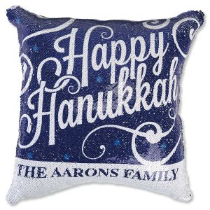 """Sequined """"Happy Hanukkah"""" Personalized Pillow"""