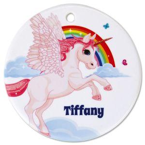 Round Personalized Unicorn Ceramic Ornament