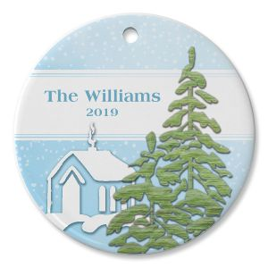 Round Personalized Christmas Forest Ceramic Ornament