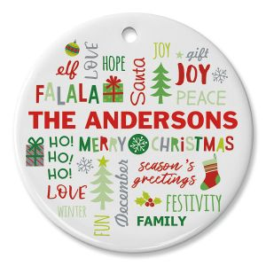 Round Personalized Christmas Words Ceramic Ornament