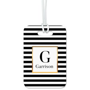 Striped with Gold Custom Luggage Tag