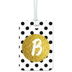Colorful Images Polka Gold Custom Luggage Tag