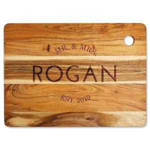 Acacia Mr. & Mrs. Custom Large Cutting Board