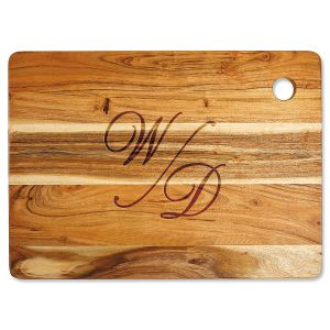 Acacia Stacked Script Custom Large Cutting Board