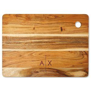 Acacia Divided Initials Custom Large Cutting Board