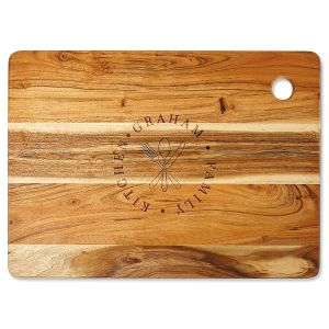 Acacia Family Stamp Custom Large Cutting Board