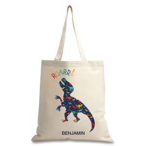 Custom Dinosaur Natural Canvas Tote