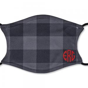 Custom Adult Black and Grey Plaid Mask