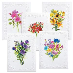 Deluxe Watercolor Floral Custom Note Cards Value Pack