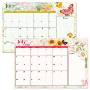 2018-2019 Watercolor Garden Calendar Pad