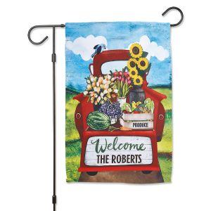 Red Truck Welcome Garden Flag