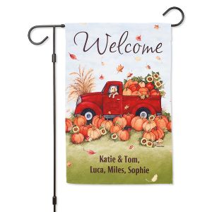 Personalized Pumpkin Truck Garden Flag