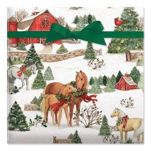 Holiday Horses Jumbo Rolled Gift Wrap