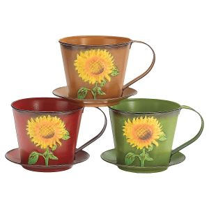 Sunflower Tin Teacup Planter