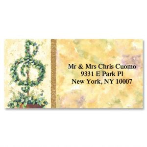 Treble Clef Topiary Border Address Labels