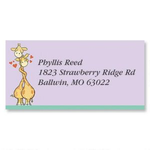 Giraffe Love  Border Address Label