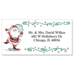 Retro Santa  Border Address Labels