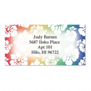 Hawaiian Print Border Address Labels