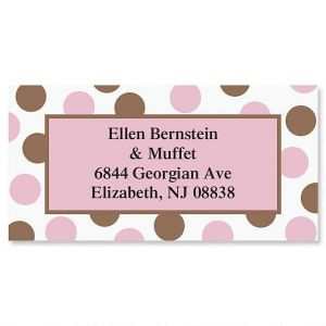 Pink & Brown Border Address Labels