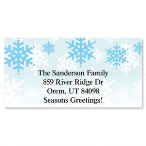 Snowflake Stripe Border Address Labels